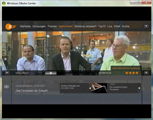 ZDF-Mediathek im Windows Vista Media Center