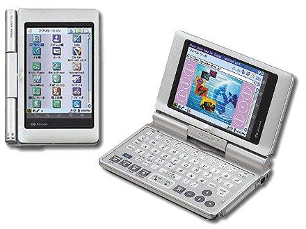 Der Zaurus SL-C860 kann wie ein Laptop mit horizontalem Bildschirm genutzt werden - oder man dreht den Bildschirm, faltet ihn auf die Tastatur und hat einen Handheld wie gewohnt.