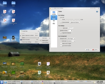 KDE 4.2 Desktop mit Folder View