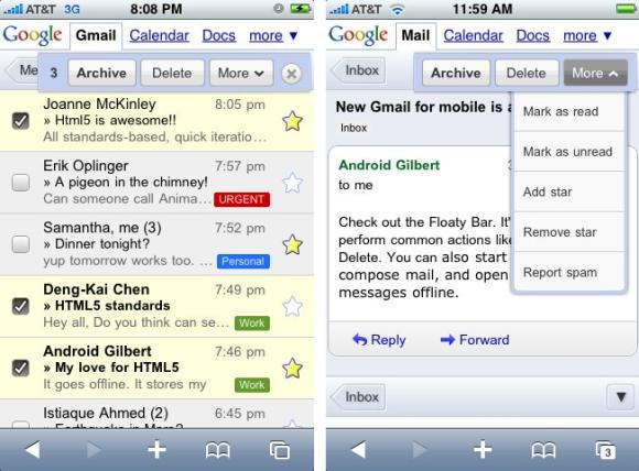 Google Mail Mobilversion für iPhone und Android