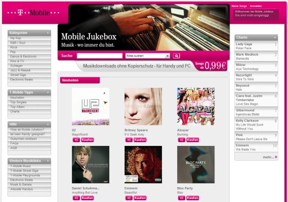 Alle Titel in T-Mobiles Jukebox sind ab sofort DRM-frei (Screenshot: ZDNet).