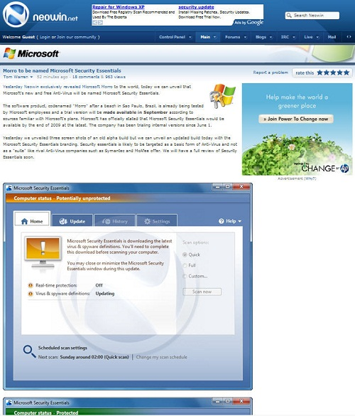 Microsoft Security Essentials (Quelle: Neowin)