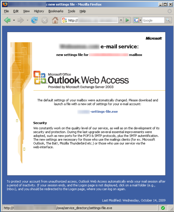 Die gefälschte Website fordert die Opfer dazu auf, ein angebliches Update für Microsoft Outlook Web Access herunterzuladen (Screenshot: Websense).