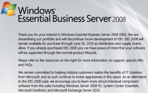 Windows Essential Business Server 2008 fällt der Straffung von Microsofts Produktportfolio zum Opfer (Screenshot: CNET).