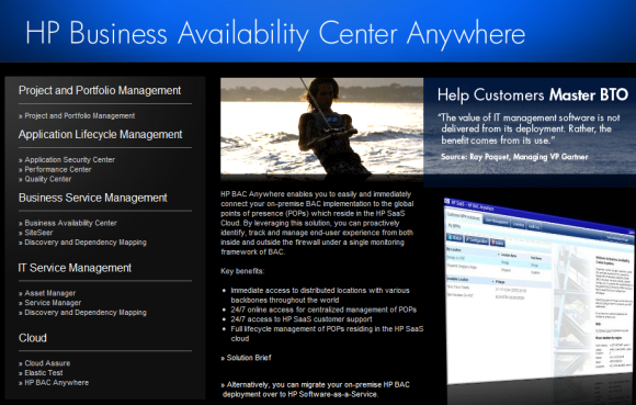 Business Availability Center Anywhere ist ein SaaS-Ableger von HPs Managementlösung (Screenshot: ZDNet).