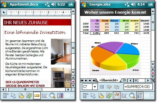 Softmaker Office 2010 für Windows Mobile enthält die Textverarbeitung TextMaker (links) und die Tabellenkalkulation PlanMaker (Bild: Softmaker).