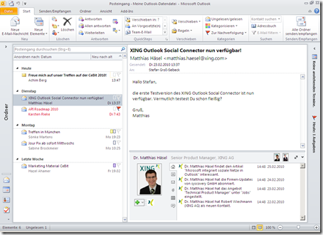 Integration von Xing in Microsoft Outlook (Screenshot: Microsoft).