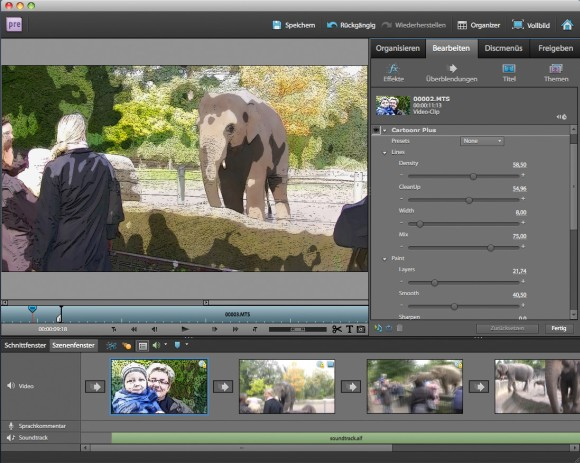 Mit dem Cartoon-Filter von Premiere Elements 9 lassen sich Videos in Animationsfilme umwandeln (Bild: Adobe).