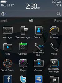 Homescreen von Blackberry OS 6 (Bild: RIM)