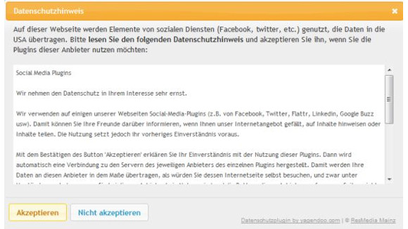 Wordpress-Plug-in von Yagandoo - Hinweis (Screenshot: ZDNet).