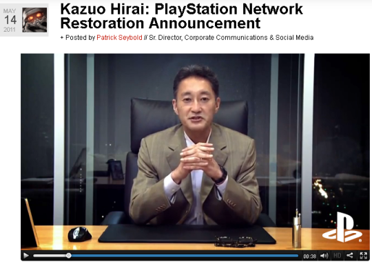Kazuo Hirai, Executive Deputy President von Sony, kündigt in einem Video den Neustart des PlayStation Network an (Screenshot: ZDNet).