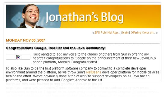 Sun-CEO Jonathan Schwartz hat sich im November 2007 in einem Blogeintrag erfreut über Googles Nutzung von Java in Android geäußert (Quelle: Internet Archive, Screenshot: Jay Greene, News.com).