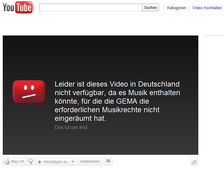 GEMA-gesperrtes Youtube