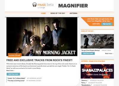 "Zum Start verschenkt Google Magnifier zwei Songs von ""My Morning Jacket"" (Screenshot: ZDNet)."