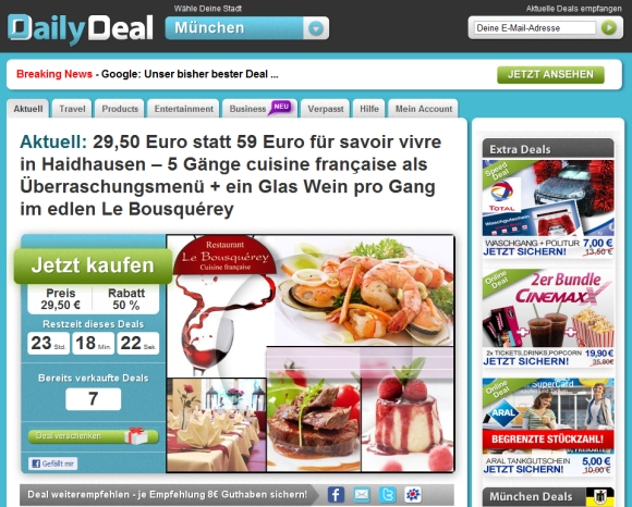 Die Website von DailyDeal (Screenshot: ZDNet)