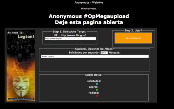 "Anonymous hat Website-Besucher per Javascript-Redirect zu Teilnehmern an seiner Kampagne ""Operation Megaupload"" gemacht (Bild: Anonymous)."