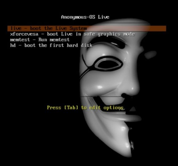 Bootscreen von Anonymous-OS Live (Screenshot: News.com)