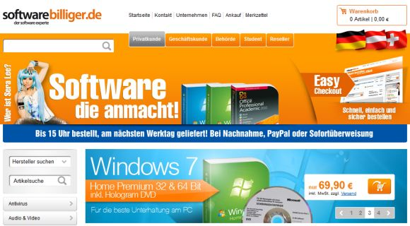 Softwarebilliger.de Screenshot