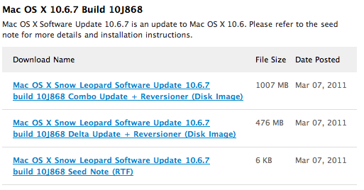 Build 10J868 ist die siebte Entwicklerversion von Mac OS X 10.6.7 (Screenshot: 9to5mac).