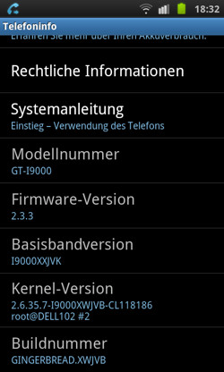Update: Galaxy S mit Gingerbread