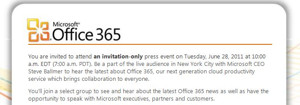 Microsoft-CEO Steve Ballmer wird Office 365 am 28. Juni auf einem Event in New York vorstellen (Screenshot: ZDNet).