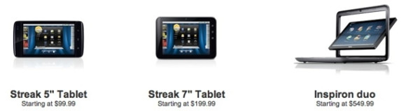 In den USA lieferbare Dell-Tablets (Screenshot: ZDNet)