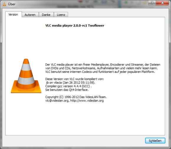Version 2.0 des VLC Media Player trägt den Codenamen Twoflower (Screenshot: ZDNet.de).