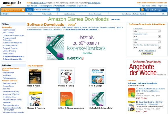 Amazon bietet ab sofort Software zum Download an (Screenshot: ZDNet.de)