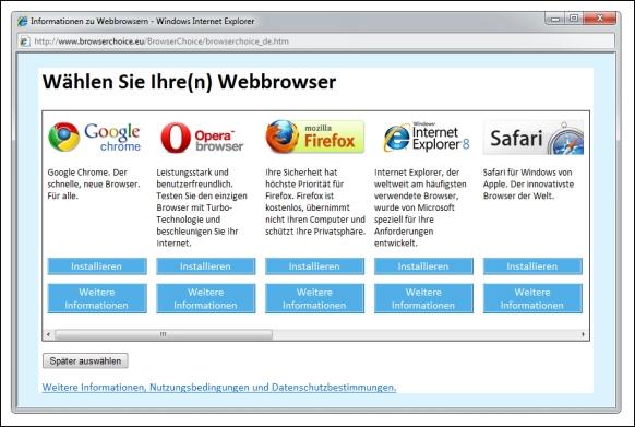Die Browser-Auswahlbox hatte Microsoft auf Drängen der EU 2010 in Windows integriert (Bild: Microsoft).