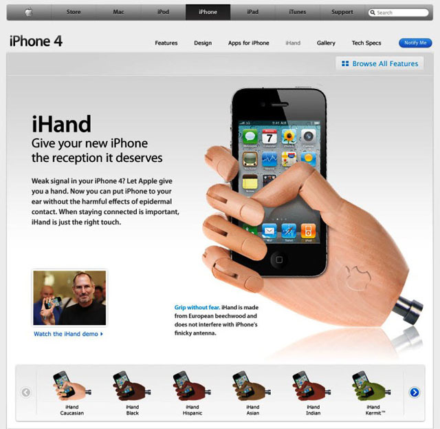 Grip without Fear. iHand is made from European beechwood and does not interfere with iPhone's finicky antenna (Screenshot: ZDNet.de).