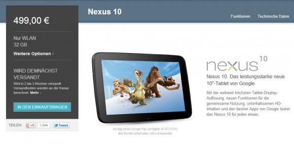 Das Nexus 10 lässt sich nun im Play Store vorbestellen (Screenshot: ZDNet.de).