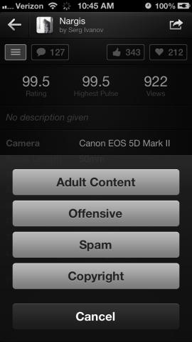 Die neue 500px-App enthält eine Meldefunktion (Screenshot: News.com).