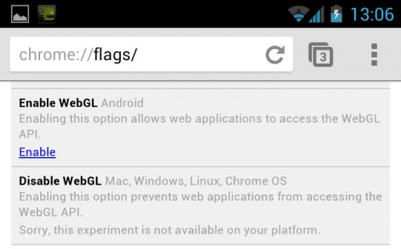 Nach Eingabe von chrome://flags/ in der Adresszeile lässt sich WebGL aktivieren (Bild: Stephen Shankland/News.com).