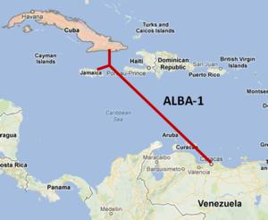 Das Glasfaserkabel ALBA-1 verbindet Kuba - und auch Jamaika - mit Venezuela (Bild: Renesys).