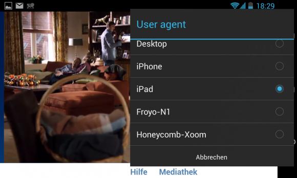 """Live-Stream """"Das Erste"""": Unter Android klappt die Wiedergabe erst mit dem User-Agent """"iPad""""."""