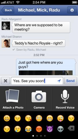 Version 5.4 des iOS-Clients ermöglicht das Aufzeichnen und Versenden von Sprachnachrichten (Bild: Facebook).