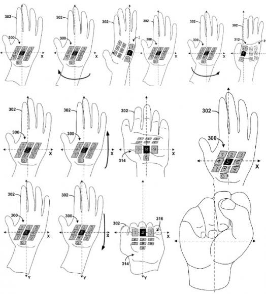 Anwender könnten durch Tastatureingaben, aber auch durch Handgesten mit Google Glass kommunizieren (Bild: USPTO).
