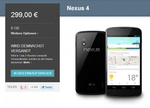 Sowohl die 8-GByte- als auch die 16-GByte-Version des Nexus 4 sind aktuell wieder in Google Play verfügbar (Screenshot: ZDNet).