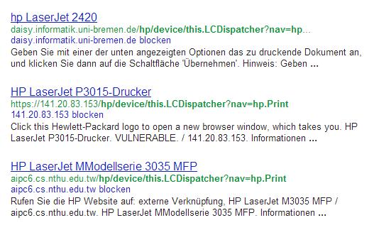 HP-Drucker im Google-Index