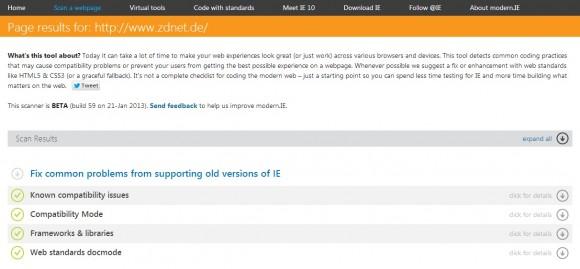 Die mit WordPress eingerichtete Site ZDNet.de ist grundsätzlich zu älteren IE-Versionen kompatibel (Screenshot: ZDNet).