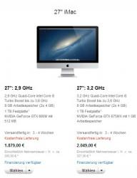 Lieferfristen für iMac, 27 Zoll