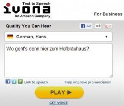 Ivonas deutsche Stimme Hans auf der Suche nach dem Hofbräuhaus (Screenshot: ZDNet)