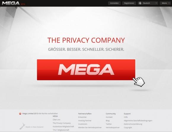 Die deutsche Homepage von Mega (Screenshot: ZDNet.de)