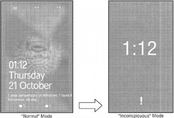 """Standard-Smartphone-Anzeige (links) und """"unauffälliger Modus"""" (rechts; Bild: Microsoft)."""