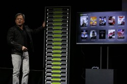 Huang demonstrierte in Las Vegas auch Nvidias Cloud-Gaming-Plattform Grid (Bild: Nvidia).