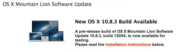 """Die jüngste Beta von OS X 10.8.3 trägt die Build-Nummer 12D54 (Bild <a href=""""http://9to5mac.com/2013/01/16/apple-seeds-os-x-mountain-lion-10-8-3-build-12d54-to-developers/"""" target=""""_blank"""">via 9to5Mac</a>)."""