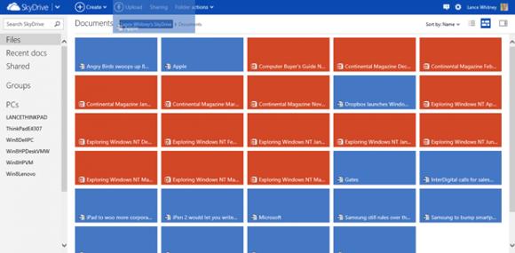 Das Verschieben von Dateien innerhalb von SkyDrive funktioniert jetzt auch per Drag and drop (Bild: Lance Whitney/News.com).