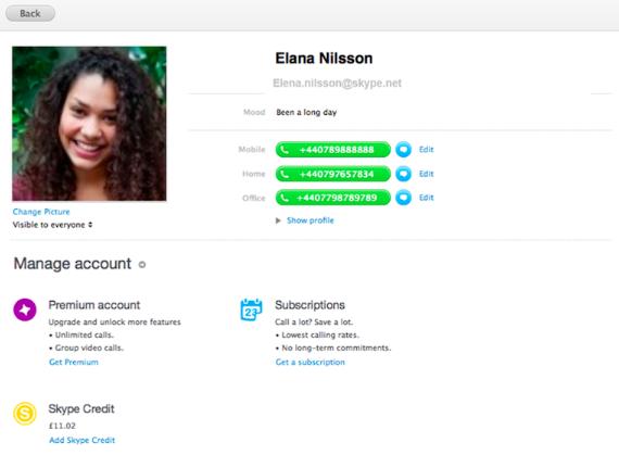 Die neue Profilansicht von Skype 6.1 für Mac (Bild: Microsoft)
