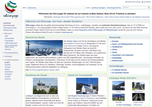 Homepage der deutschen Wikivoyage-Website (Screenshot: ZDNet.de)