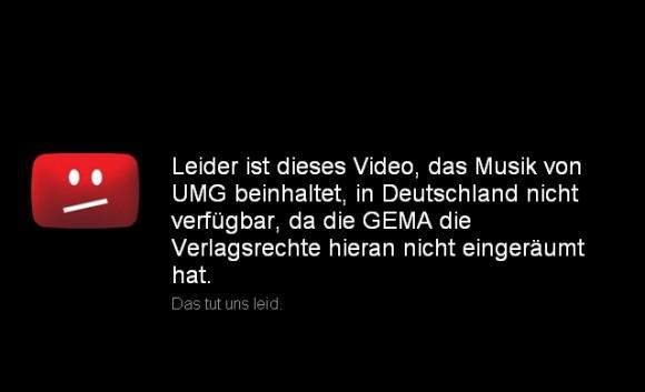 Der von der GEMA beanstandete Sperrhinweis auf YouTube (Screenshot: ZDNet)